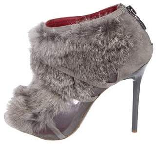 Charles Jourdan Peep-Toe Fur Booties