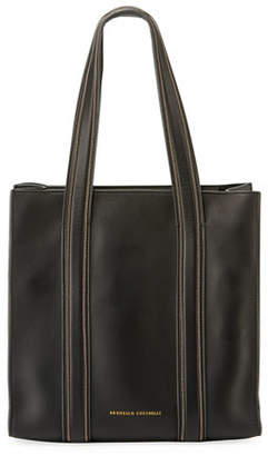 Brunello Cucinelli Smooth Leather Tote Bag with Monili Trim