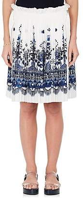 Sacai WOMEN'S TILE-PRINT LAYERED PLEATED SHORTS