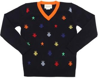 Gucci Bees Intarsia Fine Wool Knit Sweater