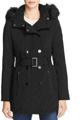 Calvin Klein Belted Faux Fur-Trim Hooded Trench Coat