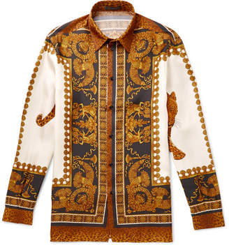 Versace Printed Silk-twill Shirt - Brown
