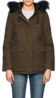 Barneys New York WOMEN'S FAUX-FUR-TRIMMED TWILL PARKA - DK. GREEN SIZE M