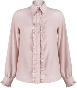 MUZA - Pink Ruffle Button Down Shirt