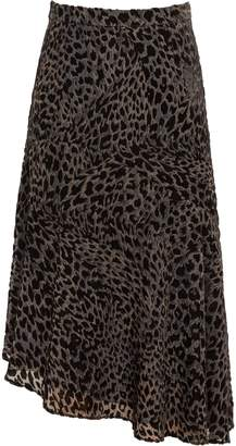 Reiss Neelam - Animal Print Burnout Skirt in Black/Grey