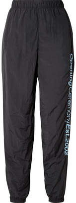 Opening Ceremony Embroidered Crinkled-shell Track Pants - Black