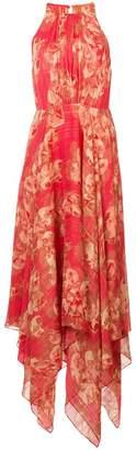 Halston printed asymmetric dress