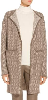 St. John Cashmere Wool Blend Soft Zig Zag Jacquard Knit Cardigan