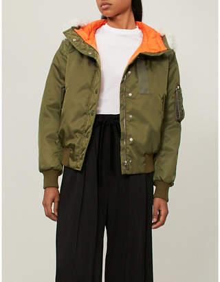 Miu Miu Shearling-trimmed shell bomber jacket