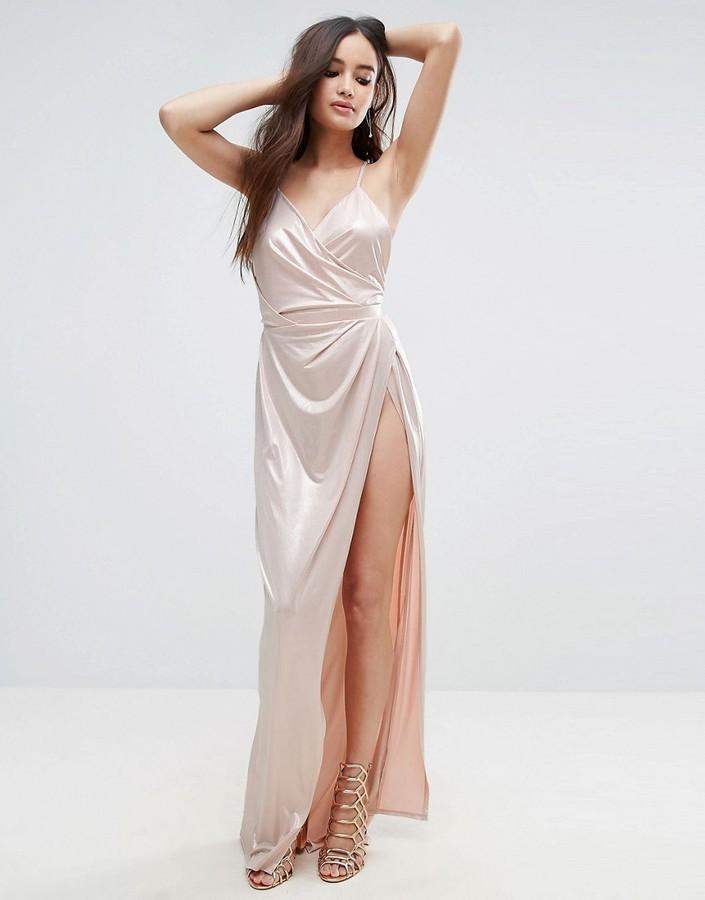 AsosASOS Slinky Lame Wrap Maxi Dress
