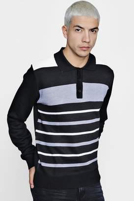 boohoo Colour Block Long Sleeve Knitted Polo