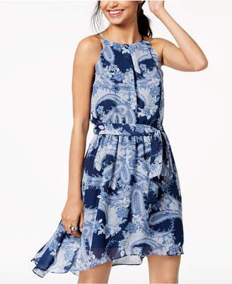 BCX Juniors' Printed Scalloped Chiffon Dress