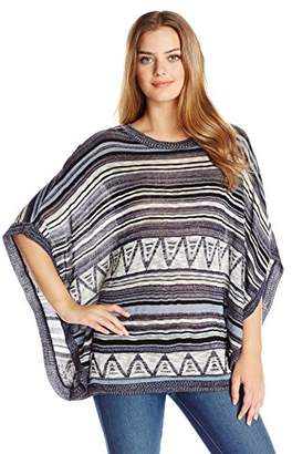 Fresh Women's Stripe Aztec Cape Pullover Sweater