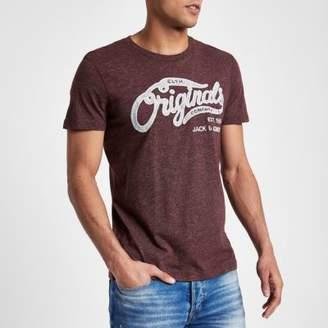 River Island Jack and Jones Originals red marl T-shirt
