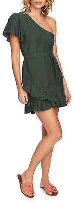 1 STATE One-Shoulder Ruffled Wrap Dress