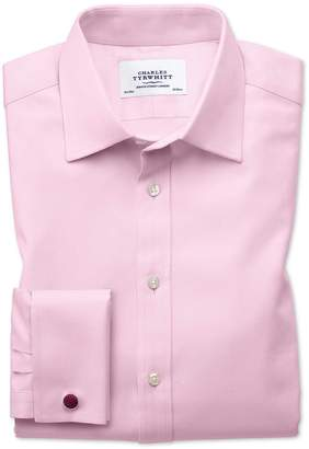 Charles Tyrwhitt Classic Fit Egyptian Cotton Cavalry Twill Light Pink Dress Shirt French Cuff Size 16.5/36