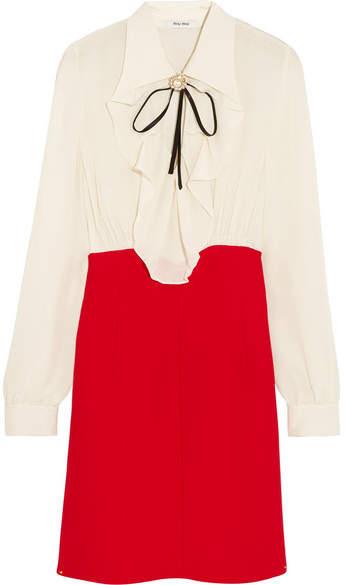 Miu MiuMiu Miu - Ruffled Silk Crepe De Chine Mini Dress - Red