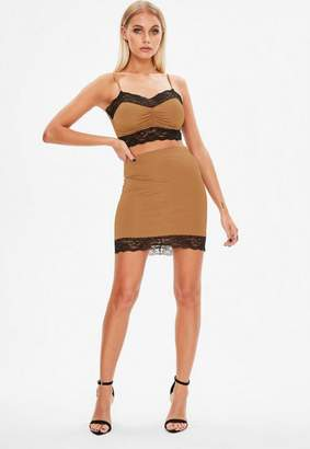 Missguided Brown Lace Trim Co Ord Skirt