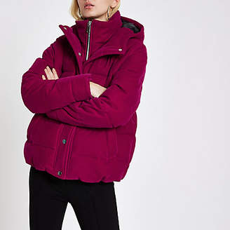 River Island Pink velvet double layer hooded puffer jacket