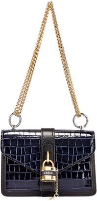 Chloé Aby Embossed Croc Chain Shoulder Bag in Full Blue | FWRD