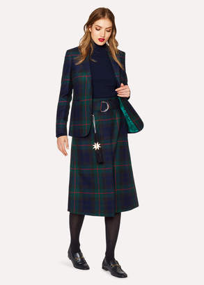 Paul Smith Women's Navy, Green And Red Tartan A-Line Midi Skirt With Belt