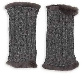Agnelle Women's Victoire Rabbit Fur-Lined Fingerless Gloves