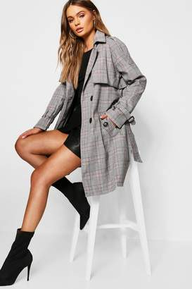 boohoo Checked Double Breasted Trench