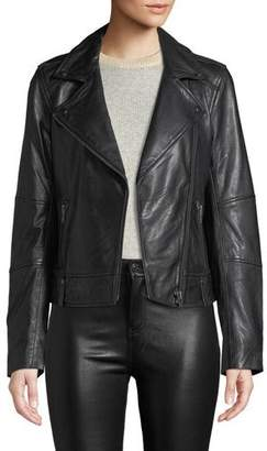 Cupcakes And Cashmere Leather Zip-Front Moto Jacket