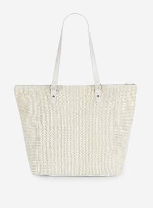 3a8496d21b Dorothy Perkins Womens White Lurex Beach Shopper Bag