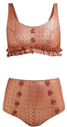 Lisa Marie Fernandez Colby Metallic Seersucker Bikini - Womens - Bronze