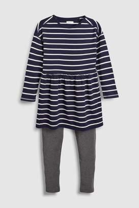 Next Girls Navy Animal Print Dress/Leggings Set (3-16yrs)