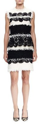 Lanvin Fringe & Lace Paneled Sheath Dress, Ivory $4,440 thestylecure.com