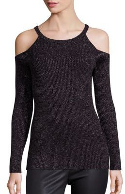 Design History Lurex Ribbed Cold Shoulder Top $125 thestylecure.com