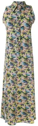 AMIR SLAMA sleeveless floral shirt dress