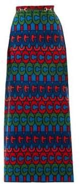 Gucci Women's Velvet GG Maxi Skirt - Blue Purple - Size 38 (2)