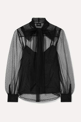 Marc Jacobs Pussy-bow Swiss-dot Tulle Blouse - Black
