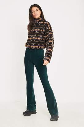 Urban Outfitters Dark Green Velvet Flare Pant