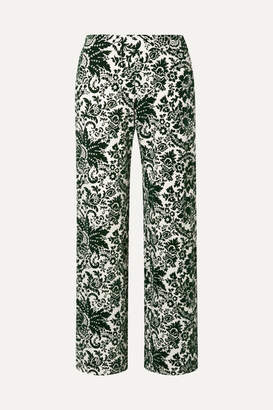Rosie Assoulin Flocked Jersey Wide-leg Pants - Green