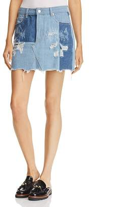Sunset & Spring Patched Denim Skirt - 100% Exclusive $68 thestylecure.com