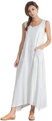 OverSize Women's Linen Cotton Casual Sleeveless Large Dress Plus Clothing a112