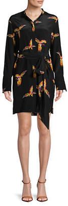 Diane von Furstenberg Striped Tie-Waist Silk Shirtdress