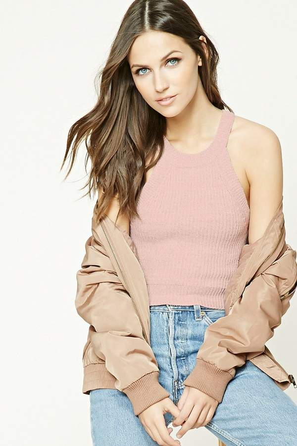 FOREVER 21+ Marled Knit Cropped Cami