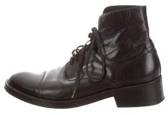 Ann Demeulemeester Cap-Toe Leather Ankle Boots