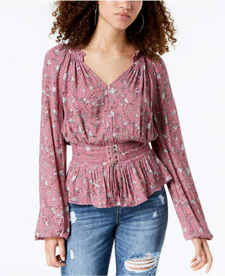 American Rag Juniors' Printed Crochet-Trimmed Blouse, Created for Macy's