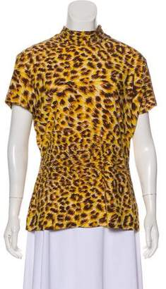 Norma Kamali Animal Print Mock Neck Top