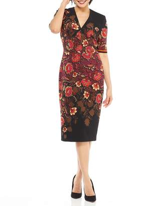 Maggy London Floral Print 1\/2-Sleeve Sheath Dress