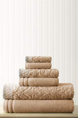 Amrapur Damask Jacquard Embellished Border Towel 6-Piece Set - Taupe