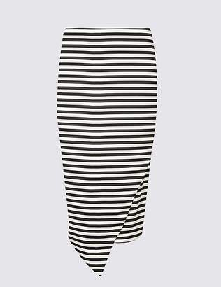 Marks and Spencer Striped Asymmetric Wrap Pencil Midi Skirt