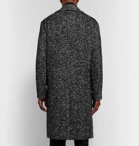 Theory Oversized Double-Breasted Herringbone Wool-Blend Bouclé Overcoat