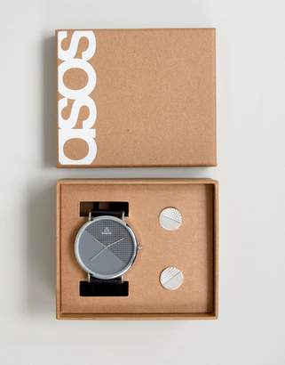 Asos Gift Set With Watch And Geometric Cufflinks